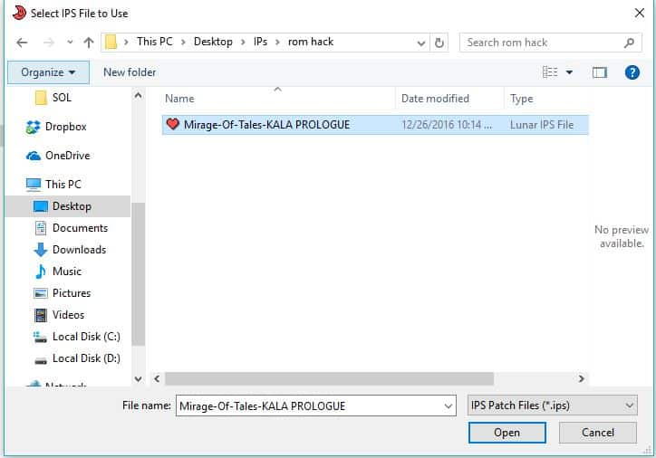 Choose rom hack ips file extension