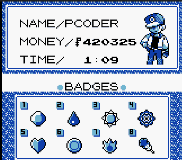 Have all 8 badges cheat pokemon blue