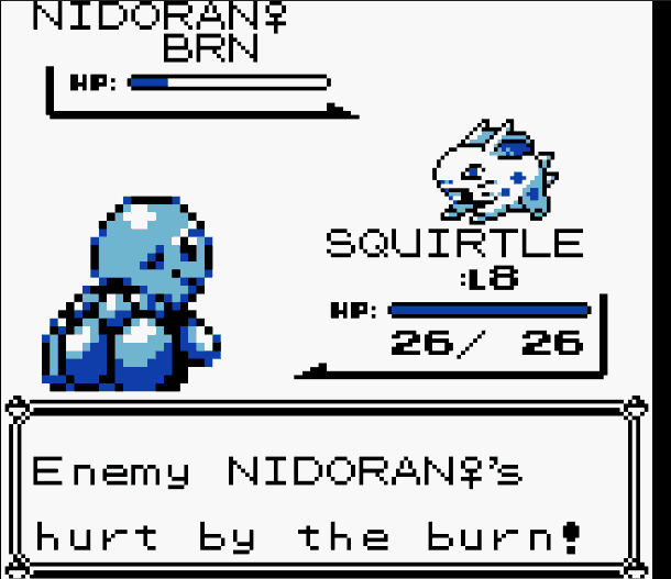 Pokemon blue enemy cannot attack and burned
