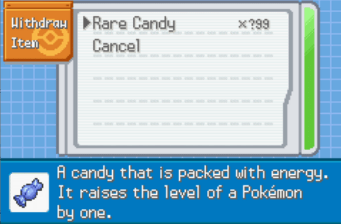 Pokemon radical red unlimited rare candy cheat