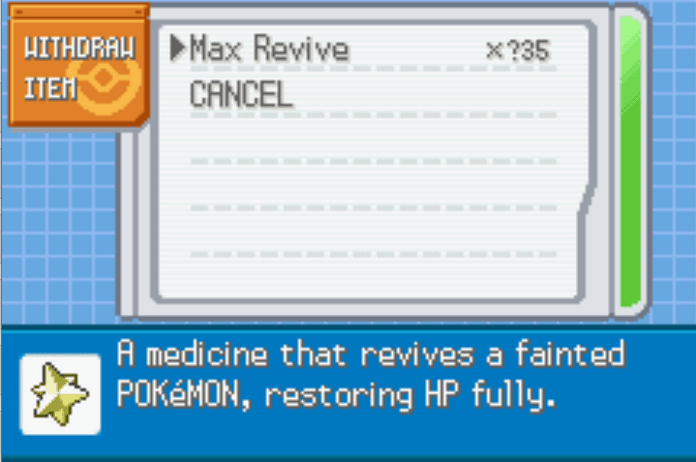 Unlimited healing items last firered cheat